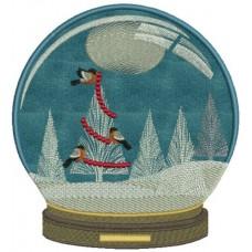 Дизайн машинной вышивки Шар Птицы Рождества скачать