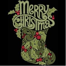 Дизайн машинной вышивки Рождественский носочек скачать