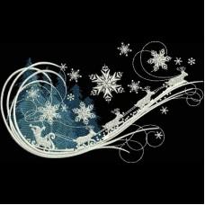 Дизайн машинной вышивки Зимние сани скачать