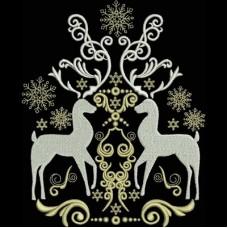 Дизайн машинной вышивки Орнамент с оленями скачать
