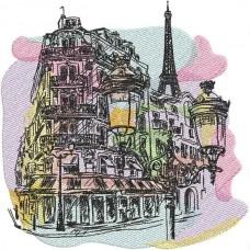 Дизайн машинной вышивки Парижская акварель скачать