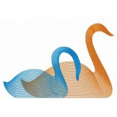 Дизайн машинной вышивки Два лебедя скачать