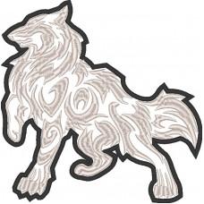 Дизайн машинной вышивки Волк тату скачать