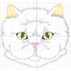 Дизайн машинной вышивки Белый кот скачать