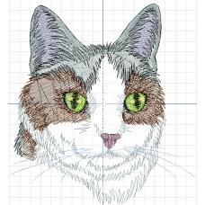 Дизайн машинной вышивки Трёхцветный кот скачать