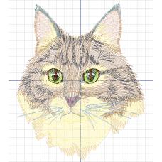Дизайн машинной вышивки Кот зеленоглазый скачать