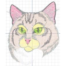 Дизайн машинной вышивки Розовый кот скачать