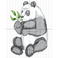 Дизайн машинной вышивки Панда сидит скачать