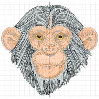 Дизайн машинной вышивки Шимпанзе скачать