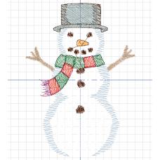 Дизайн машинной вышивки Снеговик скачать