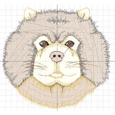 Дизайн машинной вышивки Собака с круглой мордой скачать