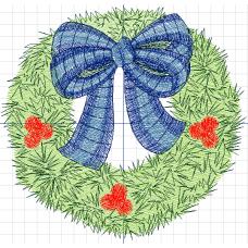 Дизайн машинной вышивки Рождественский венок скачать