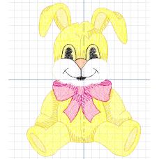 Дизайн машинной вышивки Желтый заяц скачать
