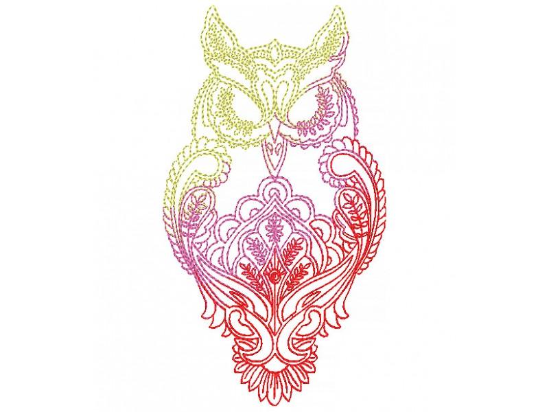Дизайн машинной вышивки Вышивка сова тату цветная скачать