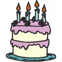 Дизайн машинной вышивки Торт со свечами скачать