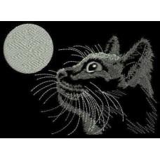 Дизайн машинной вышивки Кошка и луна скачать