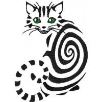 Дизайн машинной вышивки Полосатый котик скачать