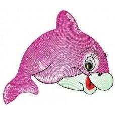 Дизайн машинной вышивки Розовый дельфин скачать