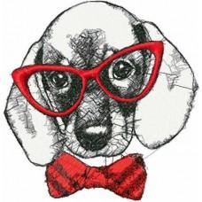 Дизайн машинной вышивки Собачка в очках скачать