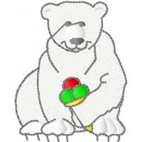 Дизайн машинной вышивки Белый медведь с мороженным скачать