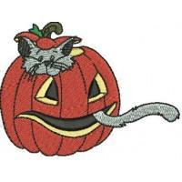 Дизайн машинной вышивки Котёнок в тыкве скачать