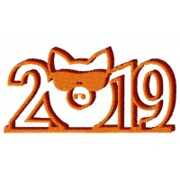 Дизайн машинной вышивки Свинка 2019 в очках скачать