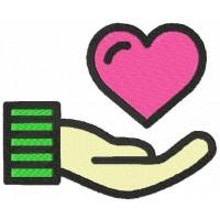 Дизайн машинной вышивки Сердце на ладони скачать