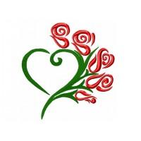 Дизайн машинной вышивки Сердце из роз 1 скачать