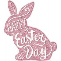 Дизайн машинной вышивки Пасхальный кролик Happy Easter скачать