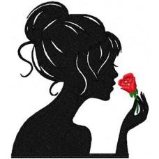 Дизайн машинной вышивки Девушка с розой скачать
