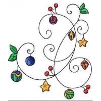 Дизайн машинной вышивки Новогодний орнамент с шариками скачать