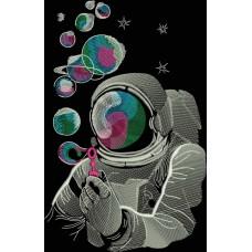 Дизайн машинной вышивки Космонавт и планеты  скачать