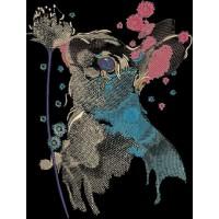 Дизайн машинной вышивки Заяц и цветок скачать