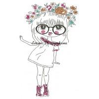Дизайн машинной вышивки Девушка с венком скачать