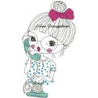 Дизайн машинной вышивки Девушка с телефоном скачать