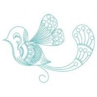 Дизайн машинной вышивки Синяя птичка скачать