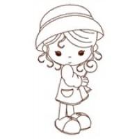 Дизайн машинной вышивки Девочка в шляпе скачать