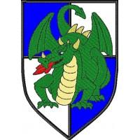 Дизайн машинной вышивки Рыцарский герб с драконом скачать
