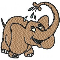 Дизайн машинной вышивки Купающийся слоник скачать