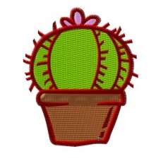 Дизайн машинной вышивки Кактус с цветком скачать