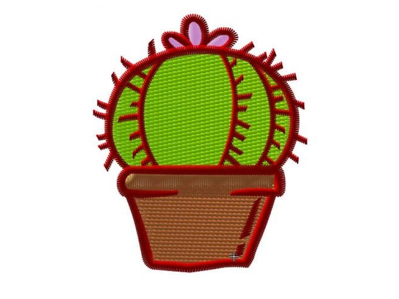 Дизайн машинной вышивки Вышивка Кактус с цветком скачать