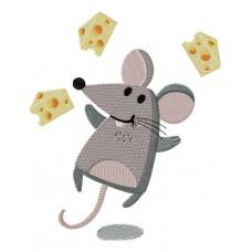 Дизайн машинной вышивки Мышь с кусочками сыра скачать