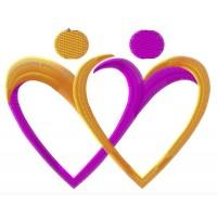 Дизайн машинной вышивки Два сердца из фигурок скачать