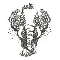 Дизайн машинной вышивки Дерево-слон скачать