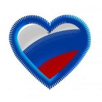 Дизайн машинной вышивки Сердце с российским триколором скачать