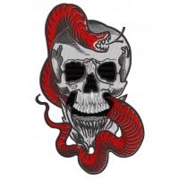 Дизайн машинной вышивки Череп со змеёй скачать