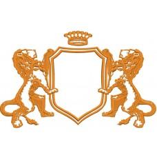 Дизайн машинной вышивки Щит со львами 01 скачать