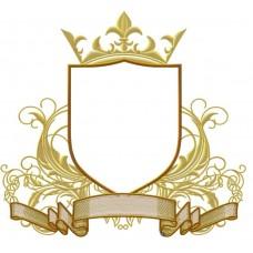 Дизайн машинной вышивки Щит с лентой и короной скачать