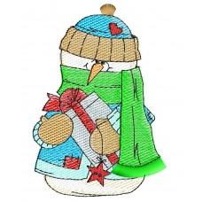 Дизайн машинной вышивки Снеговик с подарком скачать