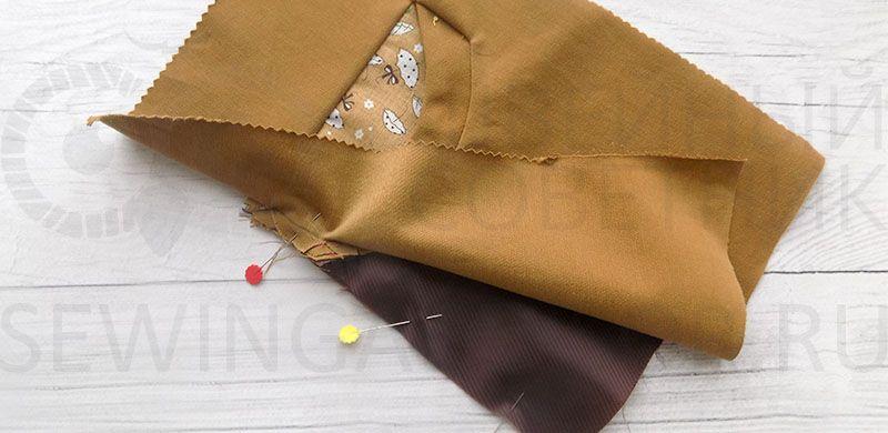Сколите боковые части кармана и подкладки